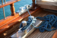 Deck cleat on a yacht Stock Photos