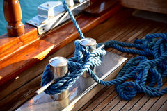 Deck cleat on a yacht Stock Photo