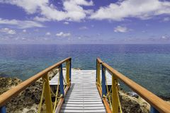 Deck close the sea in the caribbean Stock Photography