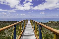 Deck close the sea in the caribbean Stock Photo