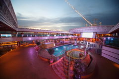 Deck of Costa Deliziosa with screen, pool and bath Stock Photography