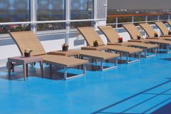 Deck of cruise liner and lounge zone. 2018-07-06 stock image