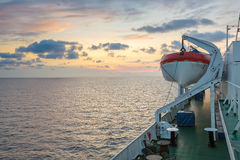 Deck of a cruise ship with beautiful sunset Stock Photography