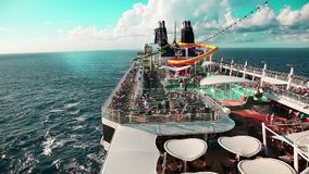 On the deck of the cruise ship stock video footage