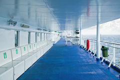 On the deck of a cruise ship. Empty upper deck cruise ship Stock Photography