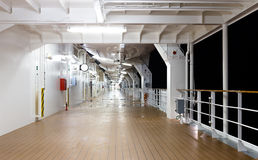 Deck of the cruise ship at night time Royalty Free Stock Photography