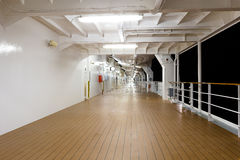 Deck of a cruise ship at night time Royalty Free Stock Images