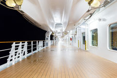 Deck of a cruise ship at night time Stock Image