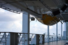 Deck of a cruise ship. Showing the bottom of a life boat Stock Image