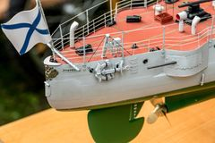 Deck equipment on the scale model ship. RC scale model ship at competitions, World Championships class NS NAVIGA 2017, Orneta, Poland royalty free stock photos