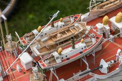 Deck equipment on the scale model ship. RC scale model ship at competitions, World Championships class NS NAVIGA 2017, Orneta, Poland stock photography