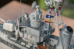 Deck equipment on the scale model ship. RC scale model ship at competitions, World Championships class NS NAVIGA 2017, Orneta, Poland stock images