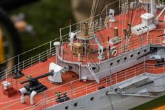 Deck equipment on the scale model ship. RC scale model ship at competitions, World Championships class NS NAVIGA 2017, Orneta, Poland stock photo