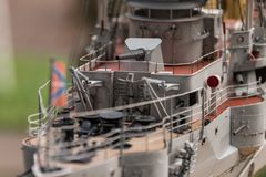 Deck equipment on the scale model ship. RC scale model ship at competitions, World Championships class NS NAVIGA 2017, Orneta, Poland stock image
