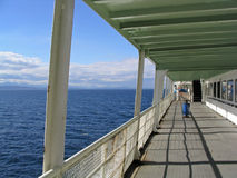Deck of Ferry. Empty Ferry Deck on Sunny Day at Sea royalty free stock images