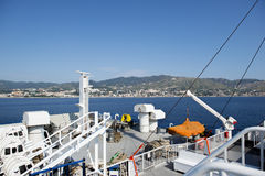 Deck of a ferry approaching to Sicily Royalty Free Stock Photos