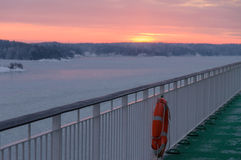 Deck of ferry with life-buoy Stock Image