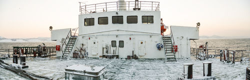 The deck of the ferry to Sakhalin in the winter early in the morning Royalty Free Stock Photography