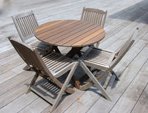 Deck Furniture 1. Table and chairs on deck  in Pulua Redang, Malaysia Stock Photography