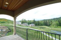 Deck with golf course view. A deck with view Stock Image