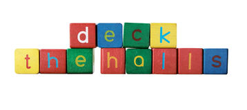 Deck the halls in children's block letters Royalty Free Stock Photo