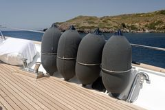 Deck of a luxury motorboat and the sea. In the island of Patmos stock photography
