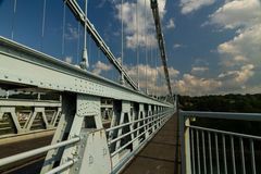Deck of the Menai Suspension Bridge over between Anglesey and ma. Hyperfocal image of the Menai bridge by Thomas Telford. Crossing the mania Straits between Royalty Free Stock Image