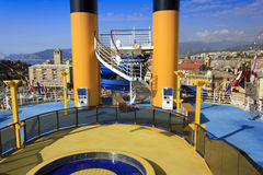 Deck of multidecked cruise ship Stock Photos