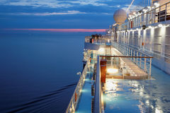 Deck of multidecked ship. In evening light Royalty Free Stock Photos