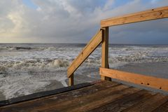 A Deck at the Ocean Stock Photo
