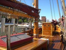 Deck of the old ship. Wooden deck of the ancient ship stock images
