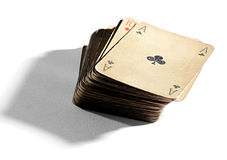 Deck of old vintage playing cards stock images