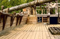 Deck of the old wooden ship stock image