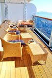 Deck on the Oosterdam Cruise Ship. This is a picture of a suite room deck on Holland America's Oosterdam ship Stock Photo