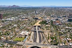 Deck Park Tunnel in Phoenix, Arizona viewed from west to east along Interstate 10 Stock Image