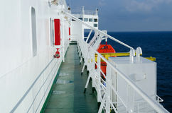On the deck of passenger ferryboat on sunny day Royalty Free Stock Photos