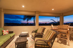 Deck and Patio Furniture at Sunset Stock Images