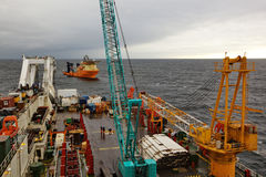 Deck of the pipelaying barge. Stock Images