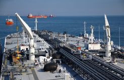 Deck and pipelines supertanker Royalty Free Stock Photo