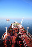 Deck and pipelines supertanker Stock Photo