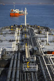 Deck and pipelines supertanker Royalty Free Stock Image