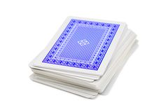 Deck of playing cards. Isolated on white background royalty free stock photo