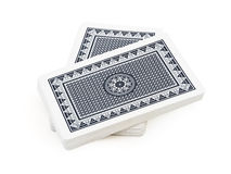 Deck of playing cards. Blue deck of playing cards split in half piled together over white background with clipping path Royalty Free Stock Photo
