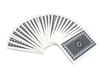 Deck of playing cards. Blue deck of playing cards spread over white background with clipping path Royalty Free Stock Photos