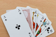 Deck of Poker Cards with Euro Note Stock Photo