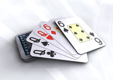 Deck of poker cards revealing full house hand. Deck of poker cards revealing full house hand  on white table. Poker, black jack, casino cards Royalty Free Stock Photos
