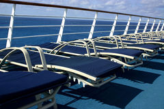 Deck Ready. Lounge Chairs on Deck of Cruise Ship Royalty Free Stock Photos