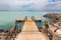 Deck on Red sea shore Stock Image