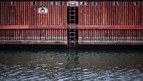 Deck on river, Gdansk, Poland Stock Images