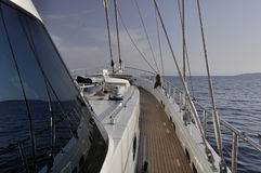 Deck of sailboat Stock Photo